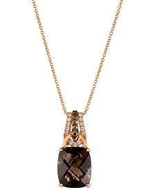 Le Vian Chocolatier® Smoky Quartz (4-1/2 ct. t.w.) and Diamond (1/5 ct. t.w.) Pendant Necklace in 14k Rose Gold