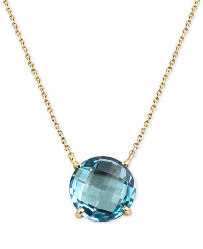 Blue Topaz Pendant Necklace (8 ct. t.w.) in 14k Gold