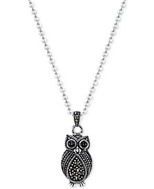 Unwritten Silver-Tone Marcasite Crystal Owl Necklace