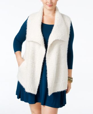 Style & Co Plus Size Eyelash Ribbed Vest, Only at Macy's