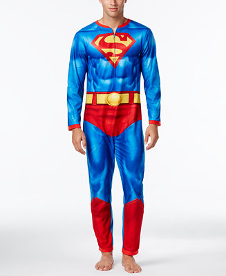 Briefly Stated Men's Superman One-Piece Pajamas With Cape ...
