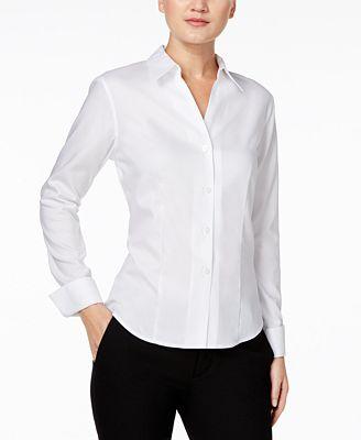 Calvin Klein Fitted Shirt - Wear to Work - Women - Macy's