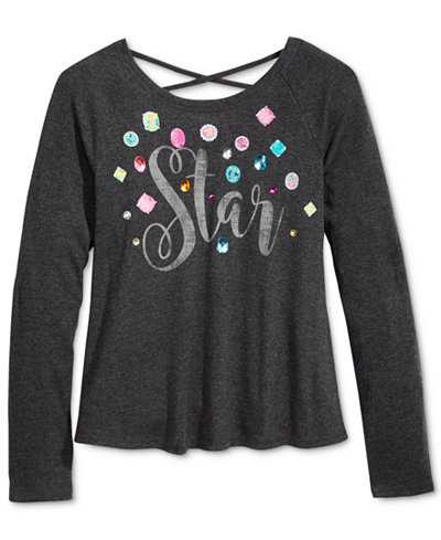 Kandy Kiss Long-Sleeve Star Graphic-Print T-Shirt, Big Girls (7-16)