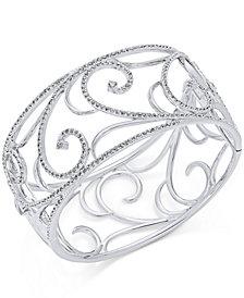 Danori Silver-Tone Pavé Filigree Cuff Bracelet, Created for Macy's