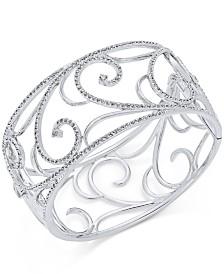 Eliot Danori Silver-Tone Pavé Filigree Cuff Bracelet, Created for Macy's