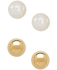 Children's 2-Pc Set Cultured Freshwater Pearl (3-3/4mm) and Gold Ball Earring Set in 14k Gold