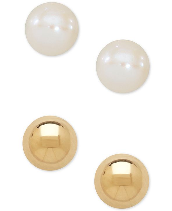 Macy's Children's 2-Pc Set Cultured Freshwater Pearl (3-3/4mm) and Gold Ball Earring Set in 14k Gold
