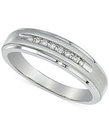 Men's Diamond Band (1/10 ct. t.w.) in 10k White Gold