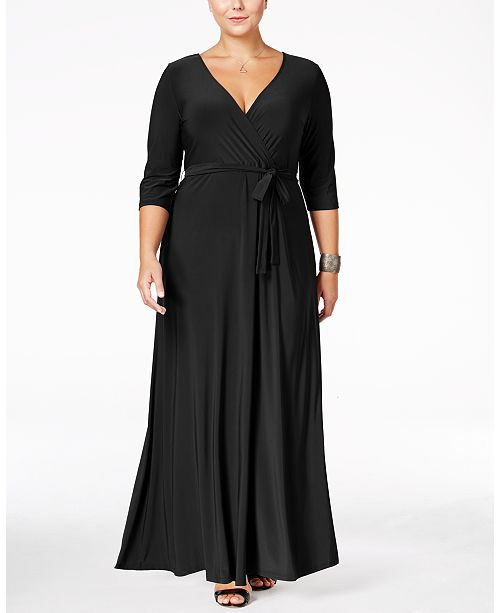 c8a1eeb0932 Love Squared Plus Size Faux-Wrap Maxi Dress   Reviews - Dresses ...
