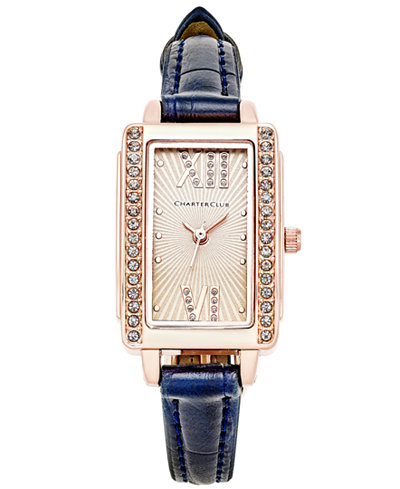 Charter Club Women's Navy Leather Strap Watch 22x30mm, Only at Macy's