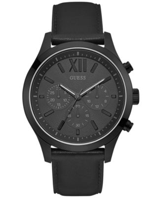 Image of GUESS Men's Chronograph Black Leather Strap Watch 46mm U0789G4