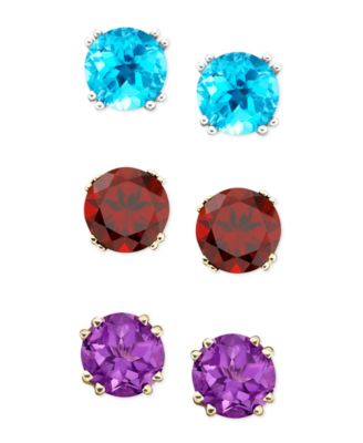 This Item Is Part Of The Semi Precious Gemstone Round Stud Earrings In 14k White And Yellow Gold