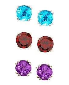 Semi-Precious Gemstone Round Stud Earrings in 14k White and Yellow Gold