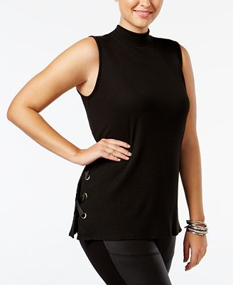 Soprano Trendy Plus Size Lace-Up Top