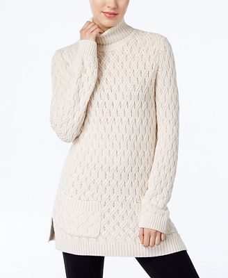 Jeanne Pierre Cable-Knit Fisherman Tunic Sweater - Sweaters ...
