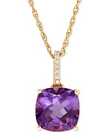Amethyst (3-3/4 ct. t.w.) and Diamond Accent Pendant Necklace in 14k Gold (Also Available in Blue Topaz)