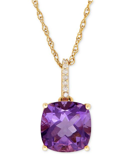 Macy's Amethyst (3-3/4 ct. t.w.) and Diamond Accent Pendant Necklace in 14k Gold (Also Available in Blue Topaz)