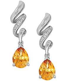 Citrine (1-9/10 ct. t.w.) and Diamond Accent Twist Drop Earrings in Sterling Silver