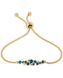 Blue Topaz (5/8 ct. t.w.) and Diamond Accent Slider Bracelet in 14k Gold