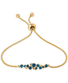 Blue Topaz (5/8 ct. t.w.) and Diamond Accent Slider Bracelet in 14k Gold