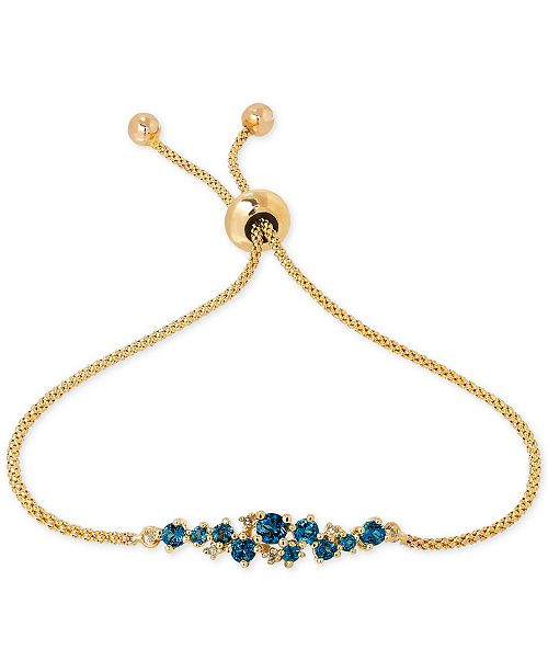Macy's Blue Topaz (5/8 ct. t.w.) and Diamond Accent Slider Bracelet in 14k Gold