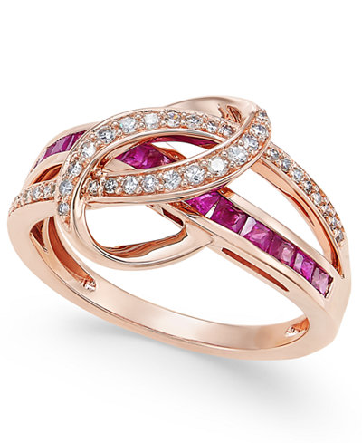 Certified Ruby (1 ct. t.w.) and Diamond (1/5 ct. t.w.) Swirl Ring in 14k Rose Gold(Also Available in Emerald and Sapphire)
