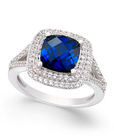 Lab-Created Sapphire (2-1/2 ct. t.w.) and White Sapphire (1/2 ct. t.w.) Ring in Sterling Silver