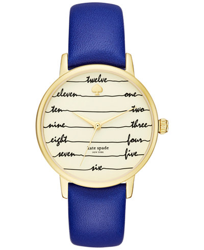 kate spade new york Women's Metro Blue Leather Strap Watch 34mm KSW1238