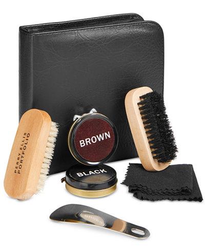 Perry Ellis Portfolio Men's Leather Portfolio Five Piece Shoe Shine Gift Kit