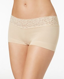 Maidenform Cotton Dream Lace Boyshort Underwear 40859