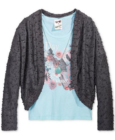 Belle Du Jour Cocoon Sweater, Graphic-Print Tank & Necklace Set, Big Girls (7-16)