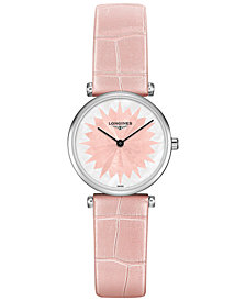 Longines Women's Swiss La Grande Classique de Longines Pink Leather Strap Watch 24mm L42094042