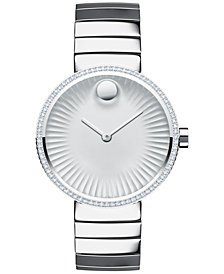 Movado Women's Swiss Edge Diamond (3/8 ct. t.w.) Stainless Steel Bracelet Watch 34mm 3680033