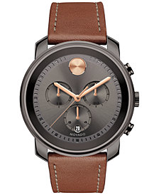 Movado Men's Swiss Chronograph Bold Cognac Leather Strap Watch 44mm 3600421