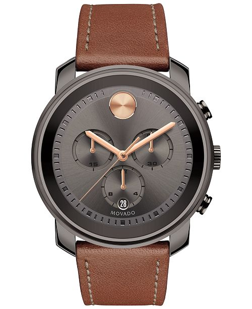 f3b1d268f ... Movado Men's Swiss Chronograph Bold Cognac Leather Strap Watch 44mm  3600421 ...