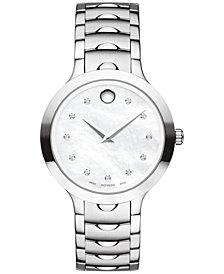 Movado Women's Swiss Luno Diamond Accent Stainless Steel Bracelet Watch 32mm 0607055