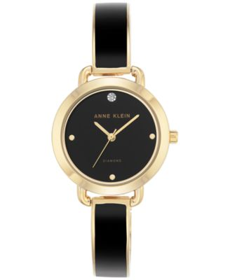 Image of Anne Klein Women's Diamond Accent Black Enamel & Gold-Tone Bangle Bracelet Watch 30mm AK-2438BKGB