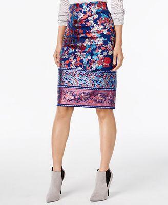 ECI Metallic-Print Pencil Skirt
