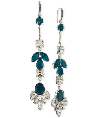 ABS by Allen Schwartz Silver-Tone Crystal Leaf Drop Earrings