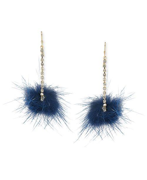 ABS by Allen Schwartz Gold-Tone Genuine Fur Pom Pom Drop Earrings
