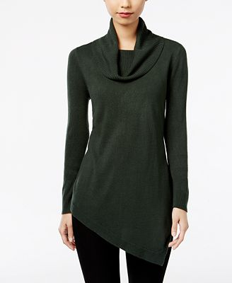 NY Collection Cowl-Neck Asymmetrical Tunic Sweater - Sweaters ...