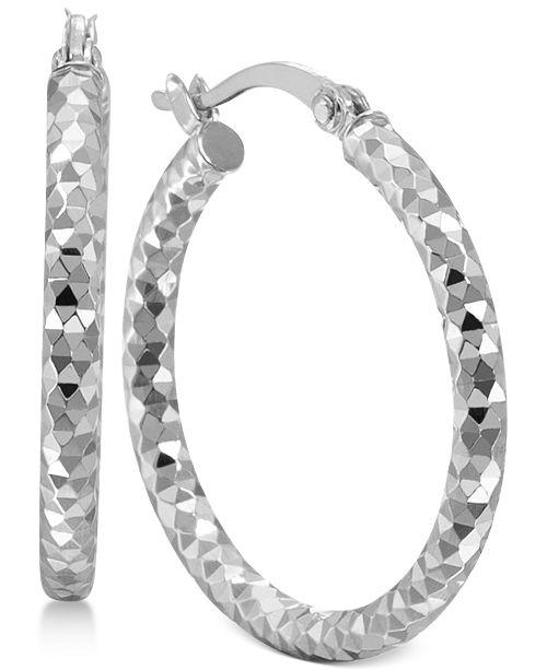 Multi-Textured Hoop Earrings in Sterling Silver, Created for Macy's
