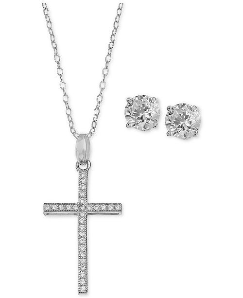 Cubic Zirconia Cross Pendant Necklace and Stud Earrings Set in Sterling Silver, Created for Macy's