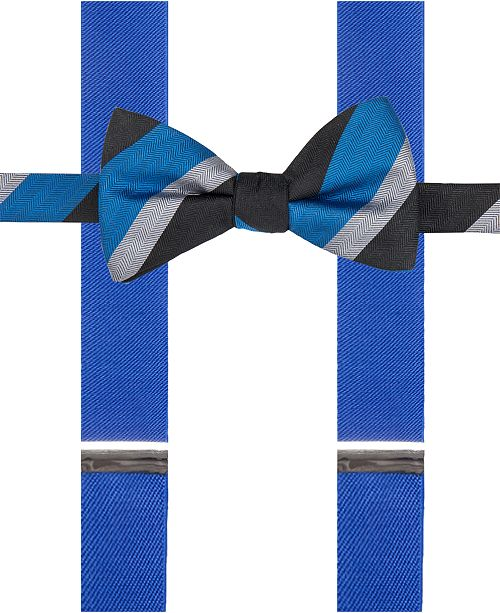 Alfani Blue Bow Tie & Suspender Set, Created for Macy's