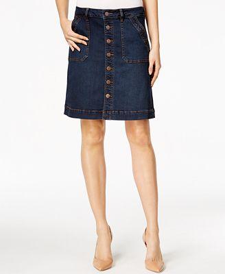 JAG Petite Florence Button-Front Denim Skirt
