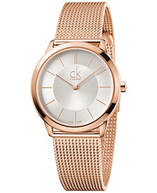 Calvin Klein minimal Men's Swiss Rose Gold-Tone PVD Stainless Steel Mesh Bracelet Watch 35mm K3M22626