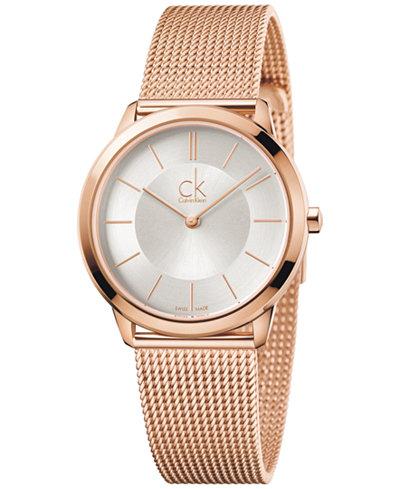 Calvin Klein minimal Men's Swiss Rose Gold-Tone PVD Stainless Steel Mesh Bracelet Watch 35mm K3M22626