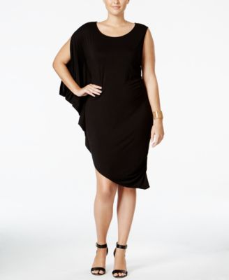 WHITESPACE Trendy Plus Size Draped Bodycon Dress