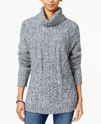 Tommy Hilfiger Cable-Knit Turtleneck Sweater, Created for Macy's