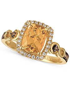 Chocolatier® Papaya Morganite™ (1 ct. t.w.) and Diamond (1/4 ct. t.w.) Ring in 14k Gold